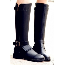 Punk Style Cool Strap Buckle Block High Solid Color Boots