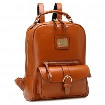 British Style Solid Color Metal Buckle Top School Bag Backpack