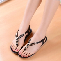 Metal Embellishment Low Heel Flip Flops Thong Sandal
