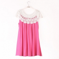 Candy Color Crochet Lace Shawl Loose Shift Dress