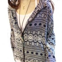 Folk Style Retro Floral Geometric Figure Print Hooded Outerwear