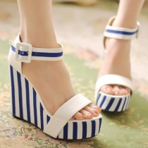 Nautical Stripes High Wedge Heel Peep Toe Platform Sandal