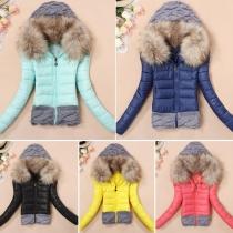 Fashion Front Zipper Long Sleeve Hooded Sweater Spliced Padded Coat