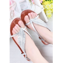 Fashion Sweet Rhinestone Leaf Thong Sandals