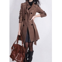 OL Style Elegant Sash Double Breast Solid Color Tweed Coat