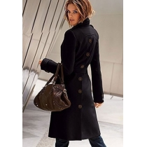 Elegant Solid Coor Epaulets Single Breast Belted Buttons Long Jacket Coat