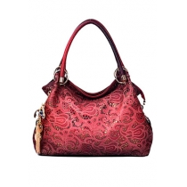 Fashion Sequins Floral Embossed Metallic Pendant OL Crossbody Hollow Out Hnadbag