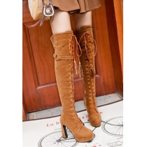 Stylish Solid Color Lace-up Strap Martin Block Thigh High Tall Boots