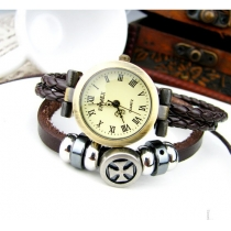 Retro Vintage Hand Rope Cross Mutiple leather Watch