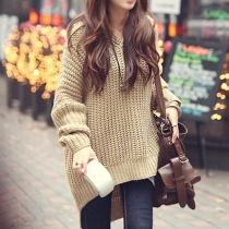 Stylish High-low Hemline Batwing Sleeve Knit Oversize Sweater