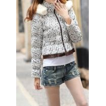Gorgeous Chic Stylish Lace Spliced Flocky Spliced Hood Coat