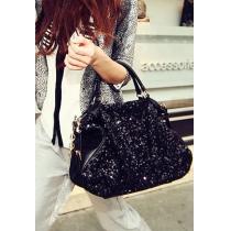 European Style Cool Paillette Black Handbag