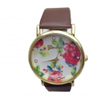 Fashion Rose Round Dial Leather Quartz Watches