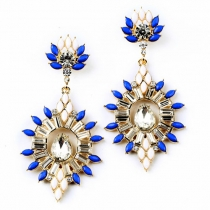 Stunning Faux Gemstones Crystal Dangle Stud Earring
