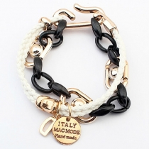 Metallic Chain Links Multistrand Braided String Charm Bracelet