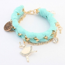 Metallic Chunky Chain Dancer Pendant Knitted Charm Bracelet