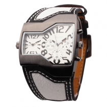 OULM Leather Watchband Tonneau Shaped Dial Dual Time Men Watch