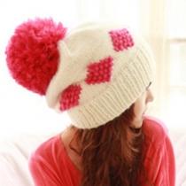 Fashion Contrast Color Pompoms Knitting Hat