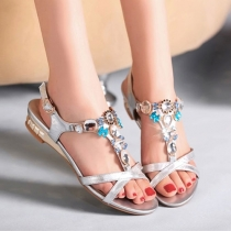 Tone Stunning Rhinestones Low Wedge Heel Open Toe Sandal