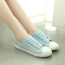 Casual Breathable Lace Up Canvas Flat Shoes
