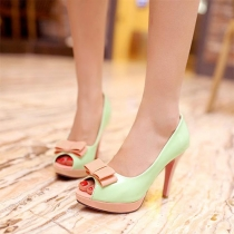 Sweet Bowknot Contrast Color Peep Toe Stiletto Shoes
