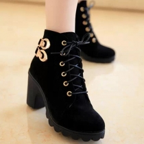 Fashion Lace Up Round Toe Thick Heel Ankle Boots Booties