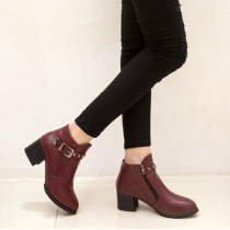 Fashion Pointed Toe Thick Heel Side Zipper Martin Boots Booties