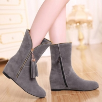 Fashion Tassels Zipper Round Toe Inner-increased Boots