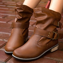 British Style Square Heel Round Toe Motorcycle Boots Booties