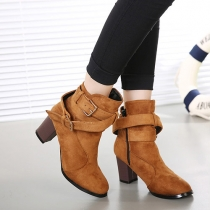 Retro Thick Heel Round Toe Belt Buckle Ankle Martin Booties