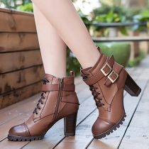 Fashion Thick High-heeled Round Toe Lace Up Martin Booties