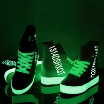 Fashion Round Toe Lace Up Inner-increased Fluorescent High-top Shoes
