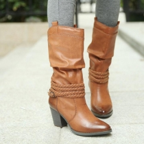 Retro Pointed Toe Thick High-heeled Knee-high Boots