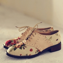 British Style Floral Print Lace Up Flat Heel Shoes