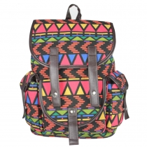 Casual Contrast Color Canvas Backpack Travelling Bag