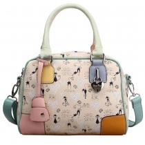 Fashion Spliced Contrast Color Floral Print Handbag Cross Body Bag