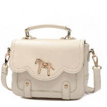 Retro Pony Pure Color Handbag Shoulder Bag Cross Body Bag