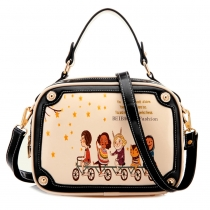 Fresh Style Contrast Color Cartoon Graffiti Handbag Cross Body Bag
