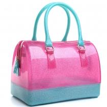 Fashion Contrast Color Crystal Jelly Handbag