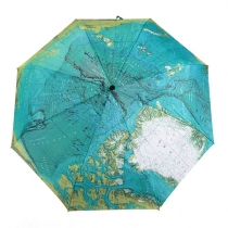 World Map Print Folding Umbrella for UV Protection/Rain