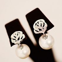 Silver Tone Rose Flower Faux Pearl Drop Stud Earring