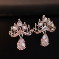 Fashion Rhinestone Crown Water-drop Pendant Stud Earrings