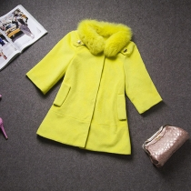 Fashion Faux Fox Fur Collar Woolen Coat