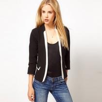 Fashion Contrast Color Long Sleeve Blazer