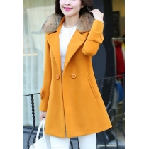 Elegant Solid Color Fur Collar Double-breasted Woolen Coat