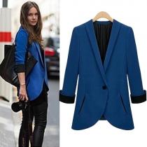 OL Style Solid Color Long Sleeve Slim Fit Blazer
