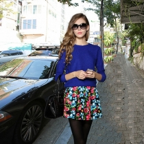 Fashion Solid Color Long Sleeve Tops + Floral Print Skirt Two-piece Set