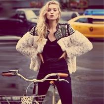 Fashion Faux Fur Spliced Long Sleeve Beaded Warm Jacket