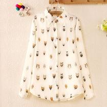 Owls Print Semi Sheer Long Sleeve Button Down Shirt Blouse