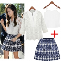 Floral Crochet Lace Top and Stringing Beads Print Skirt Set